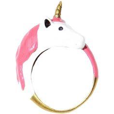Enamel Unicorn Ring ❤ liked on Polyvore featuring jewelry, rings, unicorn jewelry, unicorn ring, enamel jewelry, adjustable rings and enamel ring