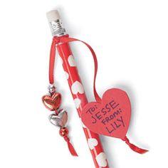 Valentine Charm Pencil  http://familyfun.go.com/valentines-day/valentines-day-crafts-gifts/all-valentines-day-crafts/valentine-charm-pencil-668276/.      You should write to me