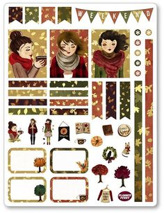 Fall Girl (BROWN HAIR) Decorating Kit / Weekly Spread Planner Stickers