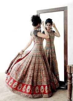 for the love of anarkali, love the peacock motifs! Anarkali Dress, Pakistani Dresses, Indian Dresses, Indian Outfits, Red Lehenga, Indian Clothes, Western Outfits, Kurti Designs Party Wear, Kurta Designs