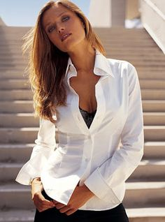 White Collared Shirt, need one for layering White Shirt Outfits, White Shirts, Sexy Outfits, High Collar Shirts, High Collar Blouse, Original Supermodels, Satin Blouses, White Blouses, Business Dresses