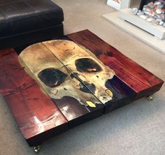 Hand Distressed Gothic Skull Coffee Table with Glass top Hand Painted Gothic Skull Coffee Table Unique by CappaESpada Skull Furniture, Gothic Furniture, Cool Furniture, Painted Furniture, Futuristic Furniture, Plywood Furniture, Modern Furniture, Furniture Design, Skull Decor