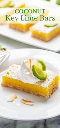 Sweet, tart, tangy and luscious Coconut Key Lime Bars are what summer should taste like! If you love lemon bars, you'll love this tropical twist on the classic. Summer Desserts, Easy Desserts, Lemon Desserts, Cobbler, Key Lime Pie Bars, Sweet Whipped Cream, Best Dessert Recipes, Bar Recipes, Amazing Recipes