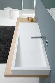 Bathroom with Corian® Sink Design, Toilet Design, Modern Sink, Modern Bathroom, Bad Inspiration, Bathroom Inspiration, Lavabo Corian, Cheap Bathrooms, Bathroom Countertops