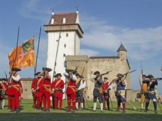 The siege of Narva 1704 by russian army. The defending sweden infantry.