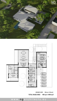 Large Modern House Floor Plans Pin On Modern House Plans Modern Small House Design, Green House Design, Modern Villa Design, Modern Minimalist House, Cool House Designs, Modern House Floor Plans, Contemporary House Plans, The Plan, How To Plan
