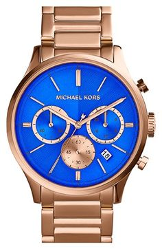 Michael Kors Women's Chronograph Bailey Gold-Tone Stainless Steel Bracelet Watch - All Michael Kors Watches - Jewelry & Watches . Mk Handbags, Handbags Michael Kors, Replica Handbags, Fashion Handbags, Blue And Gold Watch, Couleur Or Rose, Nordstrom, Bleu Turquoise, Cobalt Blue