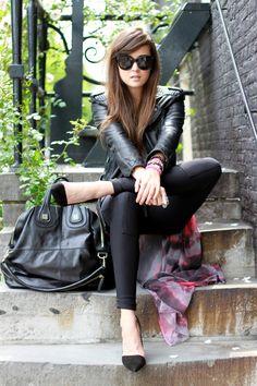 Black leather jacket + black leggings + black chloe satchel + pointy heels
