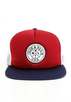 d35cc8246215e Iron And Resin Clothing Stanley Trucker Hat - Navy Red  28.00