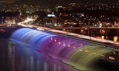 ♥ Seoul's Banpo Bridge – The World's Longest Bridge Rainbow Fountain   DesignRulz.com