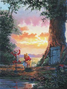 Disney Drawing Winnie the Pooh - Tigger - Good Morning Pooh by Rodel Gonzalez presented by World Wide Art Disney Winnie The Pooh, Winne The Pooh, Winnie The Pooh Quotes, Disney Amor, Cute Disney, Disney Pixar, Walt Disney, Disney Fine Art, Disney Paintings