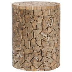 Safavieh Bali Teak Chips Round Stool   Overstock.com Shopping - The Best Deals on Coffee, Sofa & End Tables $115