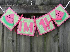 Pink and Green Watermelon Highchair Banner by LemonSugarStudios, $9.00