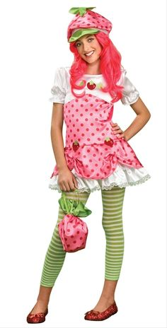 Girl's Strawberry Shortcake Costume - Strawberry Shortcake Tween Costume Not just a tasty dessert! Costume includes: Dress with white top, pink . Tween Halloween Costumes, Toddler Girl Halloween, Costumes For Teens, Halloween Fancy Dress, Halloween Stuff, Halloween Ideas, Halloween 2020, Halloween Nails, Strawberry Shortcake Halloween Costume