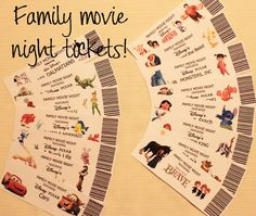 Family Movie Night Tickets - different blog posts for lots of Disney movies