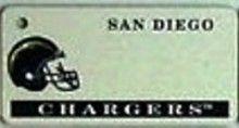 """This is an NFL San Diego Chargers Team License Plate Key Chain or Tag. An excellent and affordable gift for an avid NFL fan! The key chain is available with engraving or without engraving. It is a standard key chain made of durable plastic and size is approximately 1.13"""" x 2.25"""" and 1/16"""" thick."""