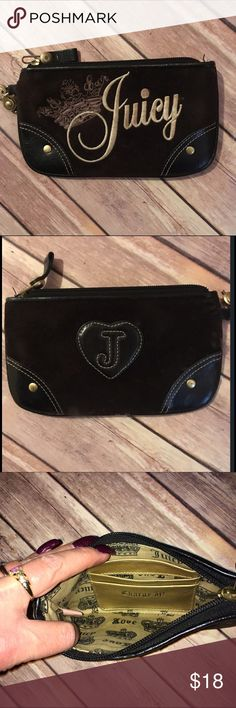 """Juicy Couture Pouch/Wallet Dark brown suede material with black trim and beige/tan embroidered 'Juicy' logo and crown. Missing the wristlet strap but still super cute and practical as a purse pouch/wallet. The inside has a few card slots that say 'Charge It!'. Measures 8x4.5"""", fits a cell phone nicely. Check out my other listings to bundle and save 25% 😎! Juicy Couture Bags Wallets"""