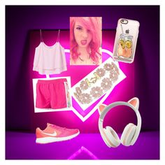 """""""bubblegum pink"""" by choc-2 ❤ liked on Polyvore featuring MANGO, NIKE, BaubleBar and Casetify"""