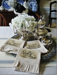 burlap napkins  tutorial Whitewashed Chippy Shabby Chic French Country Rustic Swedish decor idea