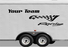 Checkered Racing Stripe Trailer Decal - Vinyl Decal - Custom Text -Trailer Sticker - CF102