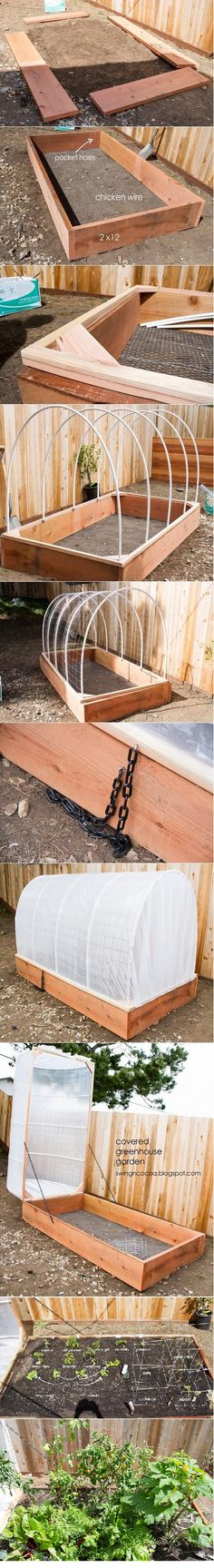 DIY Covered Greenhouse Garden I have been thinking about something similar for a cover, this looks perfect