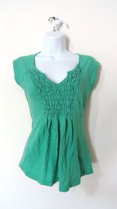 Anthropologie Deletta Green Blouse Top Shirt Casual Vintage Mod XS Small S #deletta #Blouse