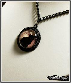Moonlit Meow Necklace  Grey by WonderlandLeech on Etsy