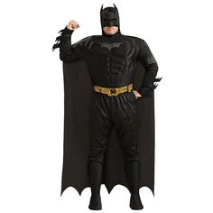 Be the hero Gotham deserves in our The Dark Knight Rises Adult Batman Muscle Costume Plus Size Deluxe! This plus-size Batman costume includes a padded shirt, pants, belt, cape, and headpiece.