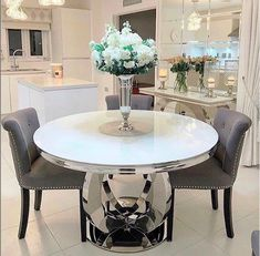 Aries Round Dining Table Dimensions W H D If in stock - Delivery is approx weeks please note this can vary depending on stock Dinning Tables And Chairs, Glass Round Dining Table, Dining Room Table Decor, Elegant Dining Room, Dining Table In Kitchen, Dining Room Design, Dining Chair, Round Dining Room Sets, Objet Deco Design