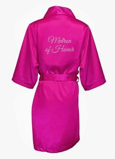 Glitter Matron of Honor Satin Robe - Fuchsia (Pink), 1X/2X