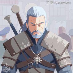 Geralt of Rivia, Sam Yang The Witcher Geralt, Witcher Art, Geralt Of Rivia, Ciri, Character Creation, Character Design, Witcher Tattoo, The Withcer, The Witcher Books