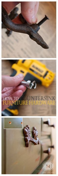 A solution to sticky-outy hardware on furniture or cabinets. This drill bit makes counter sinking a breeze!