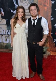 """Lee DeWyze and Jonna Walsh DeWyze attend the premier of """"The Lone Ranger"""" at Disney Adventure Park"""
