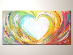 "Original modern art painting ""Happy love"" , abstract contemporary artwork, wall decoration,acrylics,heart,colorful"
