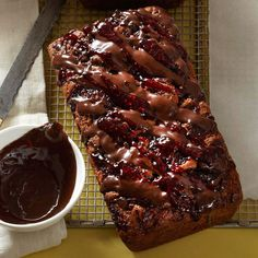 Try this Dark Chocolate-Raspberry Banana Bread for a decadent twist on the classic treat. More brunch recipes: http://www.bhg.com/recipes/breakfast/brunch/brunch-recipe-ideas/?socsrc=bhgpin070713chocolatebananabread=17