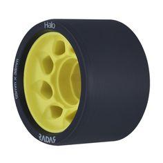 Radar Halo Roller Skate Wheels x 4 - Charcoal/Yellow Roller Skate Wheels, Roller Derby, Roller Skating, Derby Skates, Quad Skates, Wheels For Sale, Halo, Charcoal, Indoor