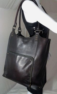 Solo Executive Leather Laptop Bucket Tote, Shoulder Bag~Espresso Retail $103 #SOLO
