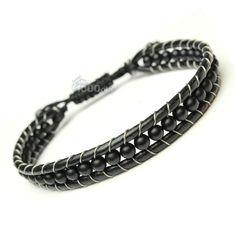 Bracelet Homme Style Shamballa Cuir VÉRITABLE Perles Ø 4mm pierre naturelle agate onyx mat noir P104