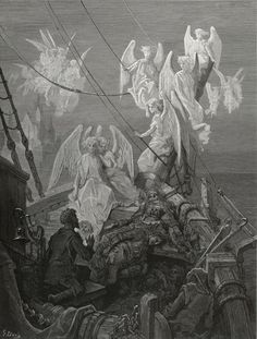The seraph-band, each waved his hand: A Heavenly Sight - from The Rime of the Ancient Mariner - by Paul Gustave Dore - Plate 29