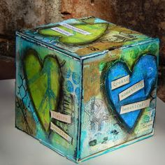 Gelli printed ATB (Artist Trading Block). Challenge 20 BOX IT UP! at Craft Hoarders Anonymous: by DT member Christy Butters using Eileen Hull box   even dug into my hoarded stash of Gelli Print scraps to finish it off. I can rotate it on a whim, always changing what I am sharing.