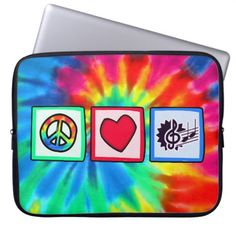Peace, Love, Music Laptop Sleeve