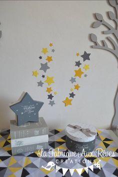 Dispo - lot 25 stickers étoiles jaune citron jaune moutarde gris foncé gris clair