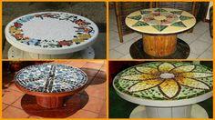 DIY Repurposed Reel Mosaic Table