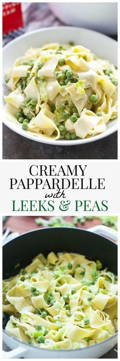 Creamy Papparadelle with Leeks and Peas #aedairy #sponsored