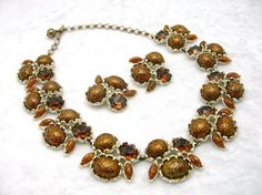 Vintage Necklace and Earrings Set CHAREL 1950s ...