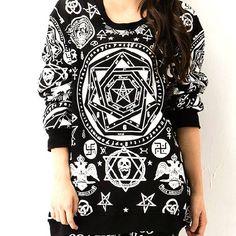 Retro Punk Style Ovarall Mystery Star Floral Print Sweatshirt