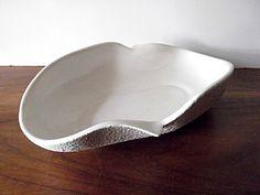 Vintage Midcentury California Originals Art Pottery Bowl, White, Stucco Glaze.