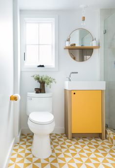 graphic yellow bathroom floor tiles