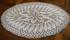 "Knitted Crochet Lace Doily 29"" by 20""/74 by 52cm White Handmade Oval New"