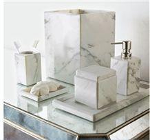 Bianco Carrara Marble Bathroom Set Marble Dispenser Soap Dish Toothbrush Holder , Bianco Carrara White Marble Toothbrush Holder Bathroom Accessories